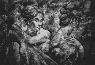 umetniška slika dveh žensk obrnjenih s hrbtom