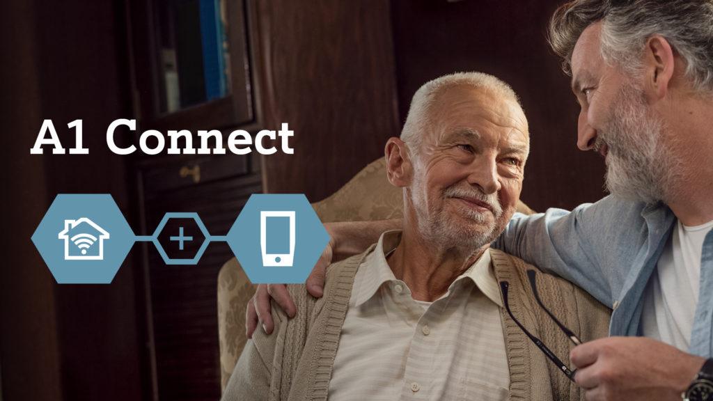 A1 reklama connect,na sliki starejši gospod in malo mlajši gospod